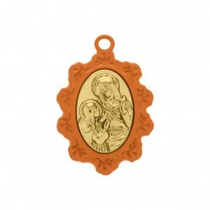 Pingente Medalha Santa Ana Laranja com Aplique Ouro 34mm