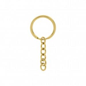 Argola para Chaveiro Ouro com Corrente 21mm