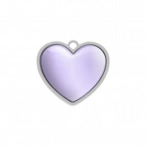 Pingente Níquel Coração com Resina Roxo Metalizado 27mm