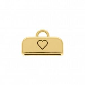 Ponteira Quadrada Coração Ouro 13mm
