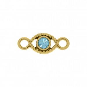Pingente Olho Ouro com Strass Aquamarine 19mm