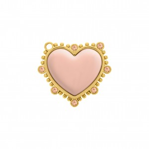 Pingente Coração Ouro com Aplique Rosa 35mm