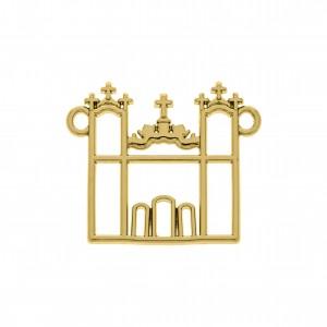 Pingente Vazado Igreja Ouro 26mm