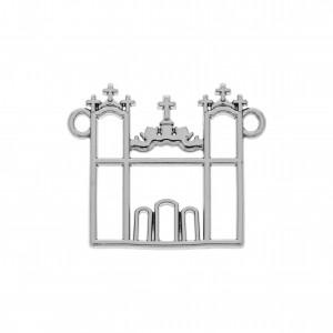 Pingente Vazado Igreja Níquel 26mm