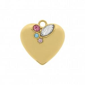 Pingente Coração Ouro com Strass 26mm