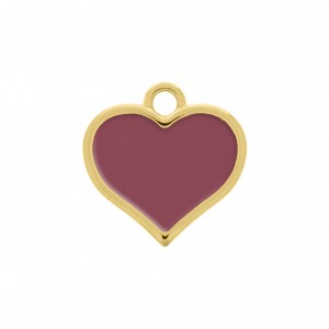 Pingente Coração Ouro com Resina Fluorita 21mm
