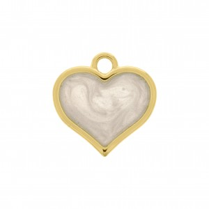 Pingente Coração Ouro com Resina Pérola 21mm