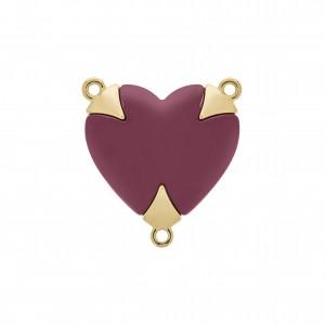 Pingente Coração Fluorita com Aplique Ouro 31mm