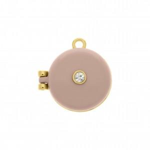 Pingente Relicário Ouro com Rosa Quartzo 25mm