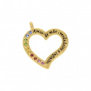 Pingente Ouro Coração Vazado com Strass Colorido 40mm