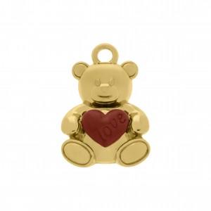 Pingente Urso Ouro com Coração Vermelho 23mm