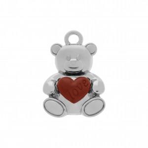 Pingente Urso Níquel com Coração Vermelho 23mm