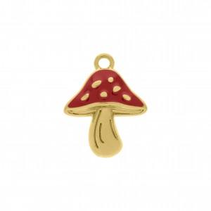 Pingente Cogumelo Ouro com Resina Vermelha 25mm