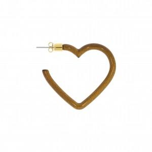 Base para Brinco Coração Ouro com Acrílico Café 40mm