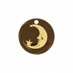 Pingente Lua Ouro com Acrílico Café 25mm