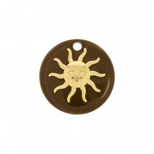 Pingente Sol Ouro com Acrílico Café 25mm