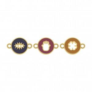 Conjunto de Pingentes Proteção Ouro com Resina 22mm