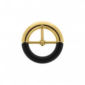 Fivela Ouro com Aplique Preto 38mm