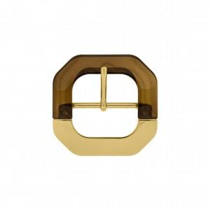 Fivela Ouro com Acrílico Café 65mm