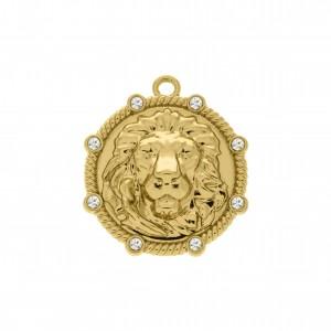 Pingente Redondo Leão Ouro com Strass 32mm