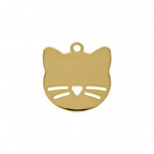 Pingente Gato Ouro 26mm