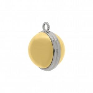 Pingente Redondo Níquel com Aplique Ouro 23mm