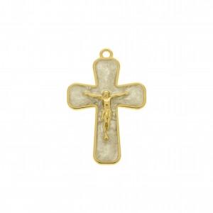 Pingente Jesus Crucificado Ouro com Resina Pérola 43mm