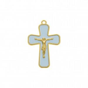 Pingente Jesus Crucificado Ouro com Resina Azul 43mm