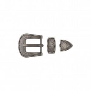 Conjunto Fivela Prata Velha Fosca 28mm