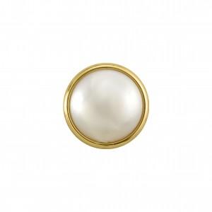 Botão Redondo Para Costura Ouro com Pérola 22mm
