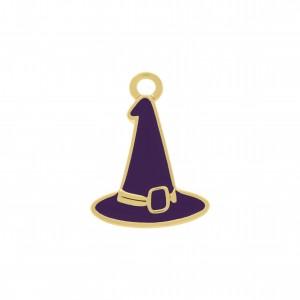 Pingente Chapéu Bruxa Ouro com Resina 21mm