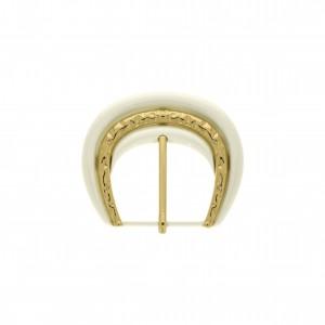 Fivela Bicolor Texturizada Pintura Ivory com Pino Ouro 60mm