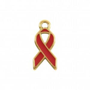 Pingente Laço Ouro com Resina Vermelha 17mm
