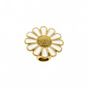 Ponteira Flor Ouro com Resina Branca 25mm