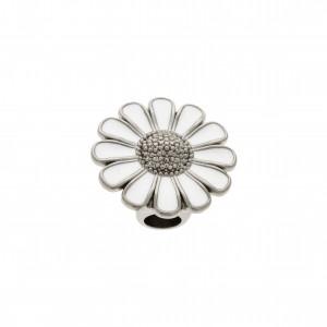 Ponteira Flor Níquel com Resina Branca 25mm