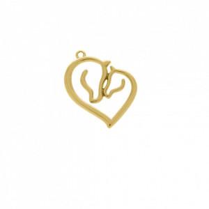 Pingente Ouro Coração Cavalos 31mm