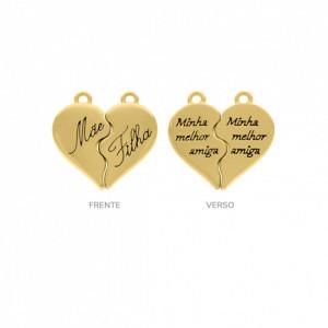 Pingente Ouro Coração de Encaixe Mãe E Filha 24mm