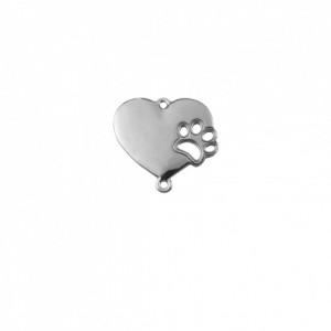 Pingente Níquel Coração Pet 25mm
