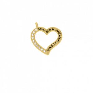 Pingente Ouro Coração Vazado 40mm