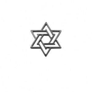 Pingente Estrela de Davi Vazada Grafite 32mm