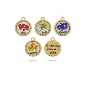 Conjunto de Pingentes Flores Ouro