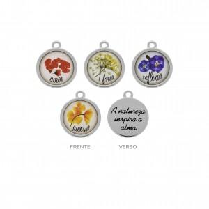 Conjunto de Pingentes Flores Níquel