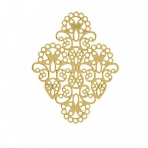 Base para Brinco Losango Arabescada Ouro 60mm