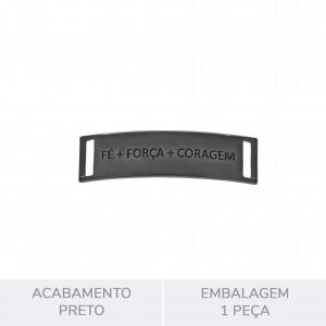 Bridão Fé, Força E Coragem Preto Brilho 51mm